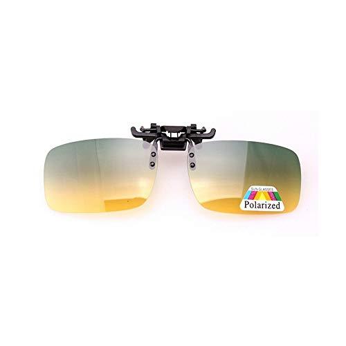 JIGAN Polarisierte Sonnenbrillen, Tag-und Nachtsicht-Clip-on-Sonnenbrille Unisex-Objektiv Flip Up Clip auf Brillen mit Sehstärke,plasticclip,1piece