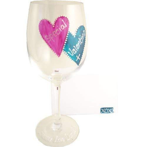personalisierbar Valentines Geschenk Wein Glas (M/Teal) maximal 25Zeichen