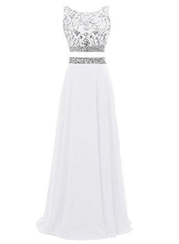 Bbonlinedress Robe longue de cérémonie Robe de demoiselle d'honneur en mousseline emperlée deux pièces Blanc