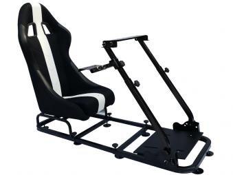 FK-Automotive Game Seat Spielsitz für PC und Spielekonsolen Stoff schwarz/weiß