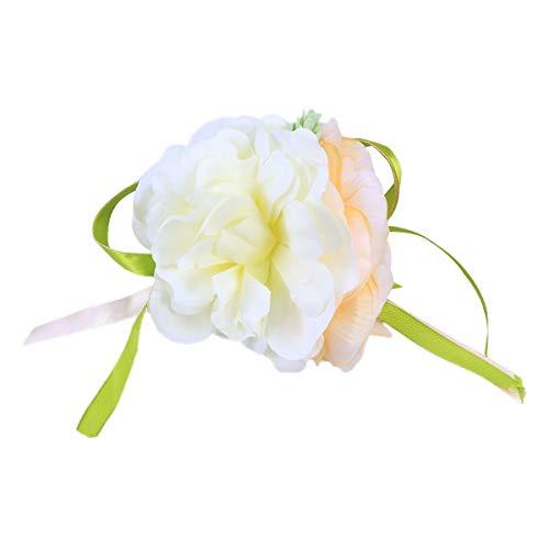 BESTOYARD Hochzeitsauto Dekoration Blume Türgriffe Rückspiegel Dekoration Künstliche Seidenblume für Hochzeit Kurzes Band (Champagner)
