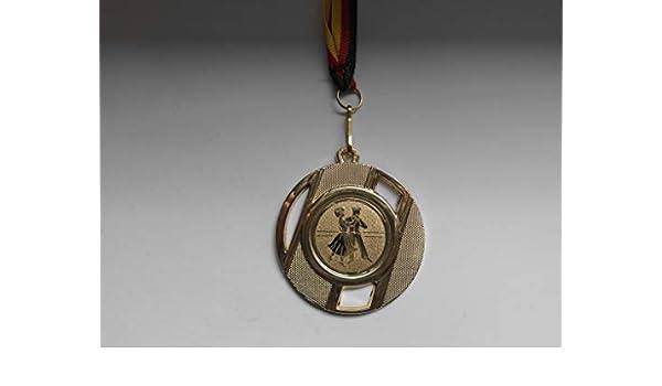 Medaillen-Band inkl Tanzen e237 Fanshop L/ünen 20 St/ück Medaillen mit Alu Emblem Medaille - aus Metall 50mm // Gold