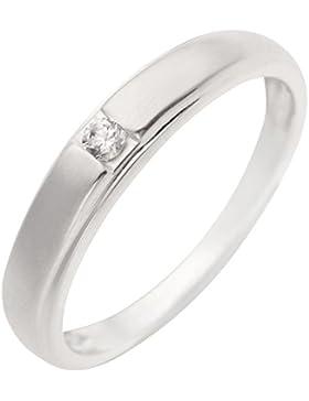 Schmuck-Pur 925/- Sterling-Silber Kinder-Ring Mädchenring mit Zirkonia teilmattiert