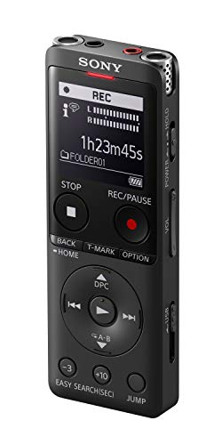 Oferta de Sony ICD-UX570 - Grabadora de Voz (4 GB Ampliable con SD, micrófono estéreo, led de grabación, Pantalla OLED, Delgada, Ligera, conexión USB Directa) Negro
