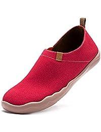 UIN Coral Zapatos antideslizantes del lona de rojo para las mujeres