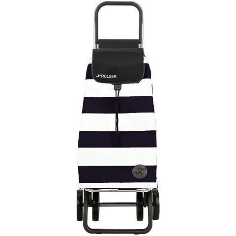 Rolser Pack Lido Logic Dos+2 - Carro de compra plegable de 4 ruedas, color blanco y negro