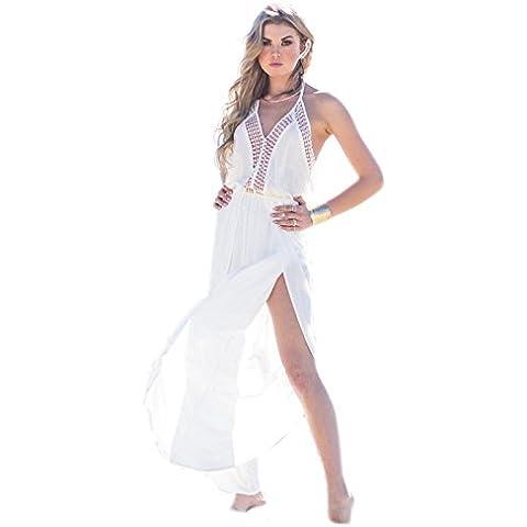 Ladies bianco elegante chiffon Halter Abito Lungo Spiaggia Cover Up tunica spiaggia Wear taglia 10–12