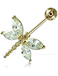 Piercing banane de nombril or 14 carats Swarovski Papillon de cristal - Jonc/Tige 1.6 mm, Long. int. 10 mm, Boule 5 mm
