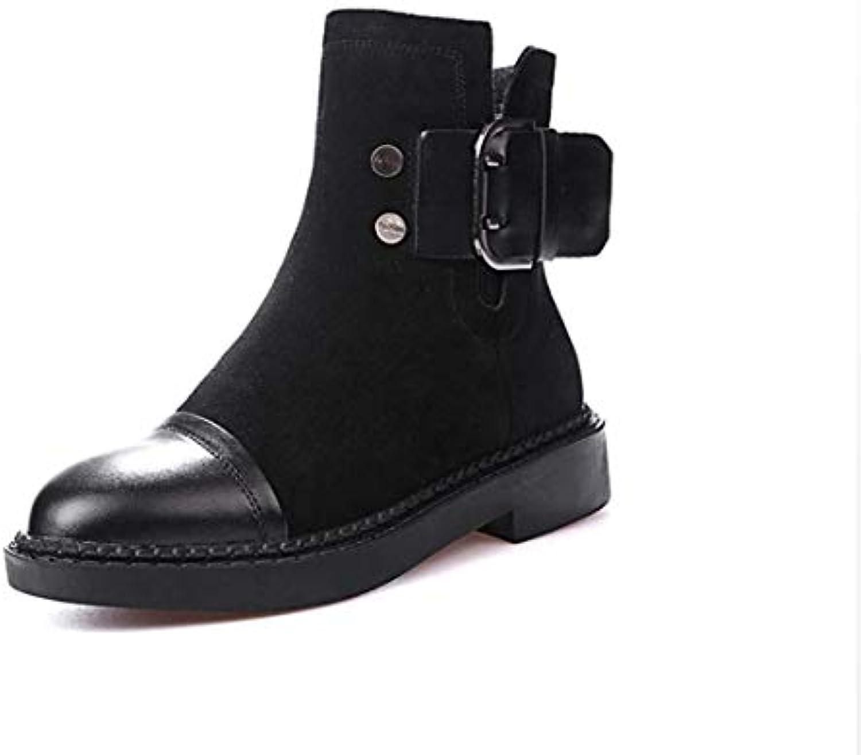 FENGJIAREN Automne Hiver Bottes Mode en Femme Chaussures Noir en Mode Cuir Véritable Cheville Marque Boot Boot Martin... 17aae5