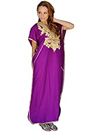 ab2f80811a New Handmade Ladies Kaftan Resort Wear Cover-up Fashion Royal Purple with  Gold Marrakech Cotton