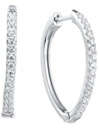 Ornate Jewels V Shaped 925 Sterling Silver Hoop Earrings for Women and Girls MEW0018D