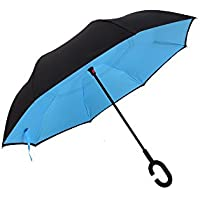 Autonorth Double Layer Reverse Outdoor Stick Umbrella Windproof Waterproof and Self Standing Inside Out Umbrella Best for Travelling and Car Using Color Sky Blue