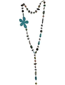 budawi® - Halskette in grün-grau mit verschiedenen Holzelementen, Kette aus Holz