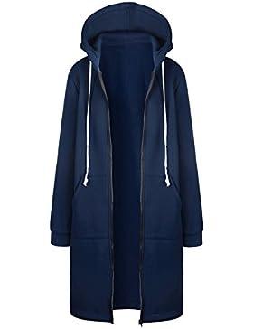 Donna Cappotto con Cappuccio Felpa di Colore Solido Giacca Manica Lunga  Parka con Zip Cappotti Hoodies 40d90b064e1
