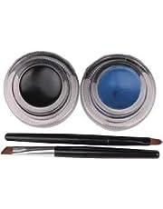 Preyansh Long Wear Gel Eyeliner Smudge Proof & Waterproof (Black And Blue) With 2 Expert Eyeliner Brushes