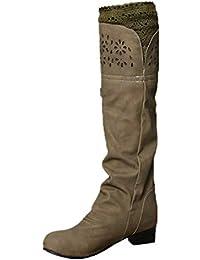 OSYARD Bottes Hautes Hiver Solide Femme Chaussures Cuissardes Fermeture  Eclair Boucle Longue Grande Taille Boots d2d264e1e4f2