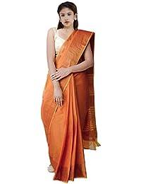 Unnati Silks Cotton Saree With Blouse Piece(Unm32276_Orange_Free Size)