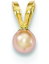 14ct oro 3-4mm redondos de color de la perla colgante Fwc - JewelryWeb