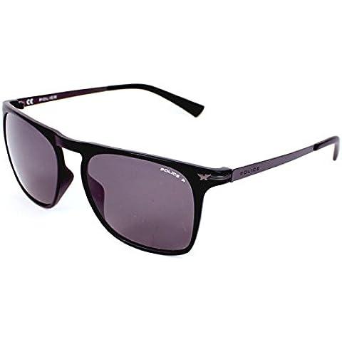 Police Polarizzata occhiali da sole quadrati di buco della serratura in nero opaco S1956 U28P 54