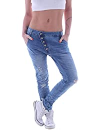 Style-Station Damen Boyfriend Jeans Boyfriendcut Hose Baggy Haremshose  Chino Blau mit Knopfleiste 99f17a662e