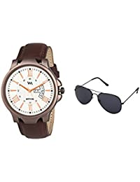 WM Gift Combo Set Of Sunglasses And Day Date Series White Analog Brown Leather Strap Quartz Watch For Men And...