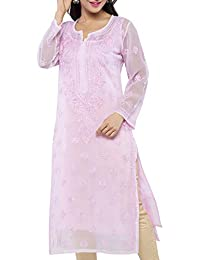 ADA Handmade Lucknow Chikan Regular Fit Faux Georgette Kurta Kurti (A130749_Pink)