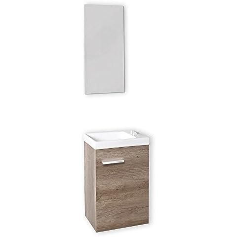 Baikal 24010555 - Mueble con lavabo y espejo para aseo, color roble gris madera