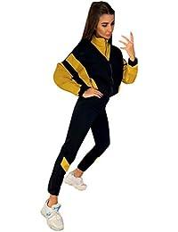 MXJEEIO Chandal Conjunto De Chándal Mujer Dos Piezas Conjuntos Invierno otoño de Ropa Deportivos Patchwork Casual Entrenamiento Fitness Yoga Sudadera Crop Top y Pantalones Elástico Stretch Leggings