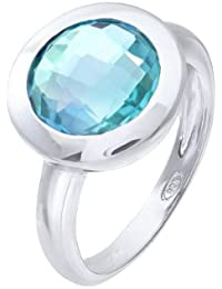Citerna Rhodium Plated Silver Classic Round Blue Topaz Stone Ring
