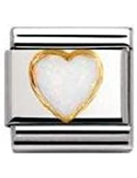Nomination Composable Classic Gemstone White Opal Heart made of Stainless Steel and 18K Gold