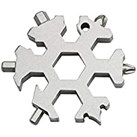 szseven 18-in-1 Stainless Steel Multi-Tool Card Combination Portable Compact for Outdoor Camping Snowflake Tool Card