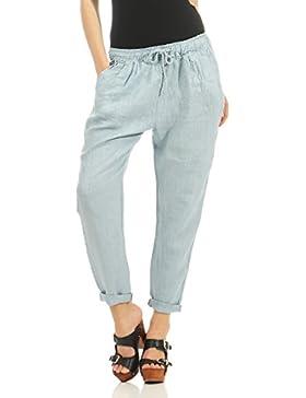 Malito Ocio Pantalones de Lino con Cintura Elástica 6816 Mujer