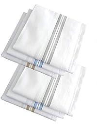 0b87b57215f0f Kohinoor Men's Cotton Essential Hand Rumal, Poket Handkerchiefs (White with  Stripes) - Set