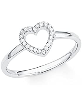 s.Oliver Damen-Ring SO PURE Herz 925 Sterling Silber rhodiniert Zirkonia weiß