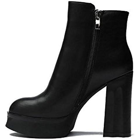 Ladies in pelle inverno donne stivali moda grossolana con Martin Short cuspidi classico tacco alto stivali , black , 38