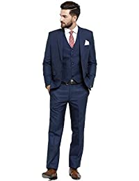 Dhingra Men's Slim Fit 3pcs Suit (Coat, Pant & Waistcoat) - 6 Colors