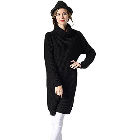 CeRui Mujeres Jersey de Cuello Alto Delgado Suéter Vestido Largo Punto Flojo