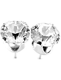 925 Sterling Silver stud earrings made with sparkling Diamond White crystals from Swarovski®. London gift box.