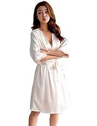 TT Global Camisón para Mujer con Vestido Kimono Satén, 2 Piezas Camisones Set De Las