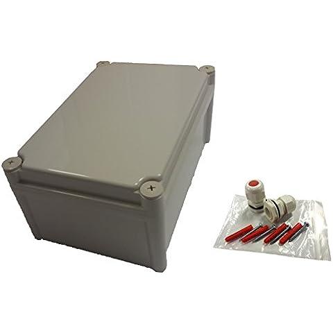 IP66resistente a la intemperie sellado 280x 190x 130mm carcasa ABS para exteriores exterior uso como caja de derivación o equipo almacenaje con interior acero Zintec equipo placa de montaje, montaje en pared y IP68Cable