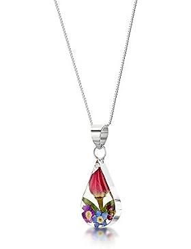 Silberschmuck mit echten Blumen: Kette, Anhänger - mini Rosenblüte - Tropfen - mit 45cm Silberkette