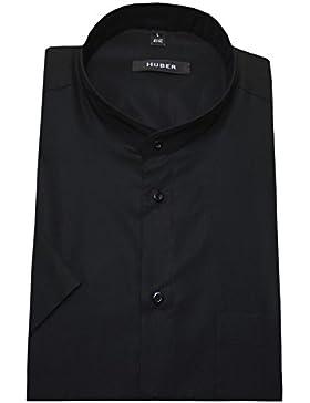 HUBER 0126 Camicia con colletto alla coreana cotone manica corta nero Stiro-facile vestibilità comoda S fino a…