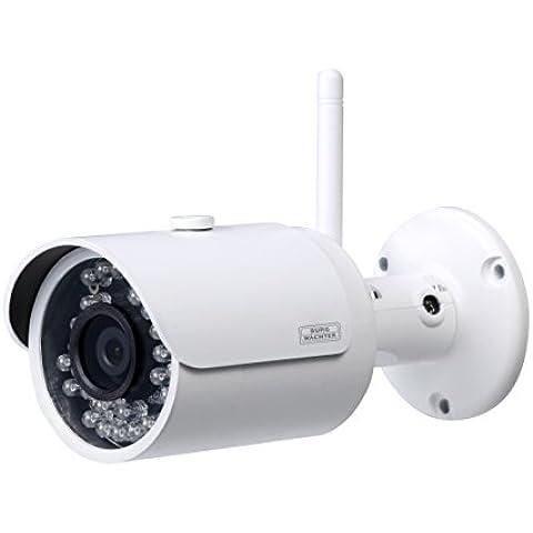 Burg-Wächter Wi-Fi cámara con objetivo fijo, interiores y exteriores, infrarrojos, 90grados ángulo de visión, 1pieza, color blanco, burgcam bulet 304