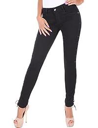 BD Damen Röhrenjeans in schwarz Damenjeans Stretch mit seitlicher Schnürung