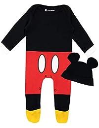 Disney Pijama Conjunto de Pijama Entera y Gorro para Niños Bebés Mickey Mouse