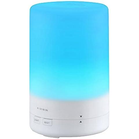 VicTsing 180ml Humidificador Aromaterapia Ultrasónico, Portátil Difusor de Aceite Esencial, Vapor Frío, Luz de 7-Color para Hogar, Oficina, Baño, Dormitorio,