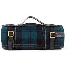 The Tartan Blanket Co. Couverture de pique-nique en laine recyclée avec bracelet en cuir noir (Ramsay Blue)