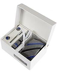 Coffret Cadeau Buenos Aires - Cravate slim gris chiné à rayures bleu denim, bleu marine et fines rayures blanches, boutons de manchette, pince à cravate, pochette de costume