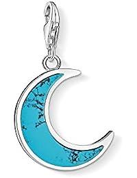 "Thomas Sabo - Colgante de Mujer ""Luna turquesa Charm Club"", Plata de Ley 925, Azul Turquesa"