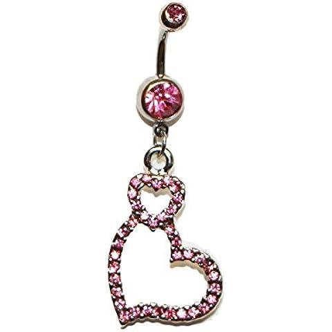 Hipoalergénico Acero Quirúrgico Ombligo un pequeño corazón w/una curva de Big de corazón y rosa piedras Belly